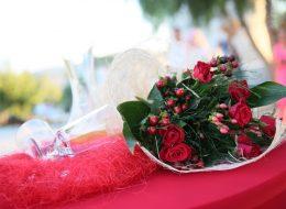 Çiçek Buketi Kadehler ve İçecekle Masa Süsleme İzmir