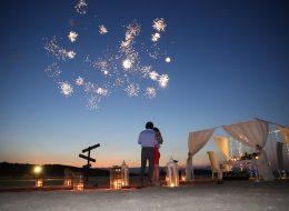 Dev Kalp Figürü ve Havai Fişek Gösterisiyle Kumsalda Evlilik Teklifi Organizasyonu İstanbul