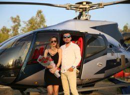 Çiçek Buketi Eşliğinde Helikopterde Evlilik Teklifi Organizasyonu