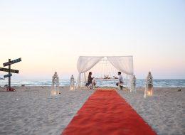 Evlenme Teklifi Organizasyonu Beyaz Tüllerle Süslenmiş Gazebo ve Denizci Fenerleri